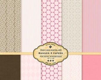 Pink and Brown Digital Paper pack for invites, card making, digital scrapbooking  (Banner 4)