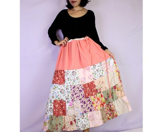 Boho hippie floral cotton drawstring waist  patchwork long skirt (PW 06)