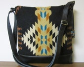 Shoulder Cross Body Bag Messenger Purse Black Leather Adjustable Strap Blanket Wool from Pendleton Oregon