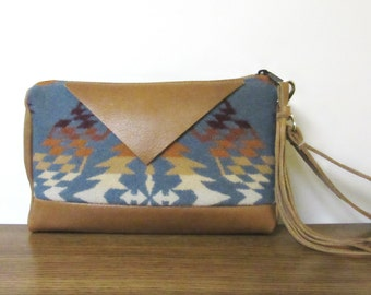 Wrist Bag Wristlet Clutch Purse Southwest Style Print from Pendleton Oregon Soft Brown Leather