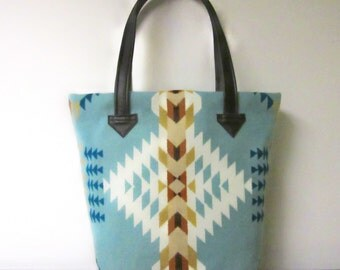 Bucket Bag Purse Tote Bag Wool Brown Leather 5 Pockets Southwest Aqua Blanket Wool from Pendleton Oregon
