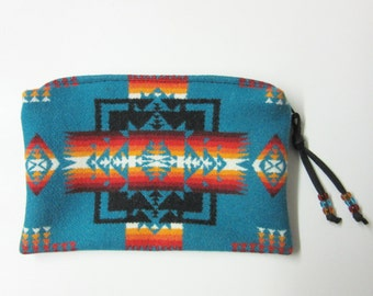 Large Zippered Pouch Cosmetic Bag Accessory Organizer Southwest Blanket Wool Turquoise