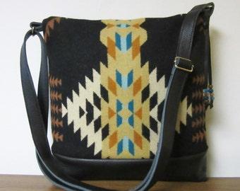 Shoulder Cross Body Bag Messenger Purse Black Leather Adjustable Strap Blanket Wool from Pendleton Oregon