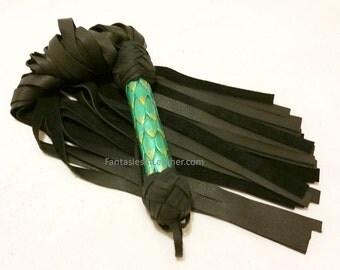 SALE Green Dragon Scale Leather Flogger Whip BDSM Kink Fetish (FLG 104)