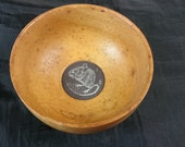 Vintage Sycamore Wood and Slate Hand Made Carved Wooden Bowl with Mouse