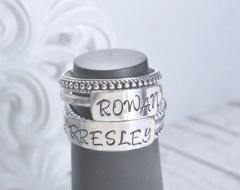 Personalized Stacking Ring, Sterling Silver Personalized Name Ring, Stacking Mother's Ring, Bar Name Rings, Stackable Rings, Custom Rings