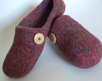 Boiled Wool, Felted Wool Loafers, Moccasins,House Shoes, Slippers, US Women Size 9