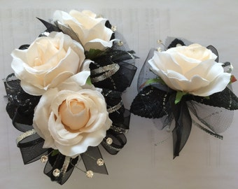 Black Silver Corsage and Boutonniere Set (artificial)