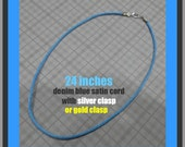 24 Inch Denim Blue Satin Cord Necklace With Silver Plated or Gold Plated Clasp