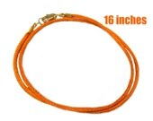 16 Inch Orange Satin Cord Necklace With Gold Plated Clasp - Halloween