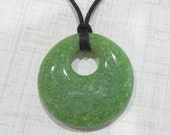 Grass Green Speckled Necklace, Fused Glass Jewelry, Ready to Ship - Field of Wonder - -5