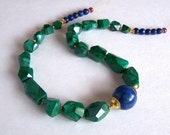 RESERVED ............ Faceted Malachite, Lapis Lazuli, Ruby necklace,  Gold Vermeil