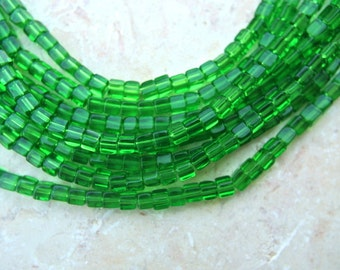 30 Vintage beads unique translucent green, cube 4mm, might be gemstone