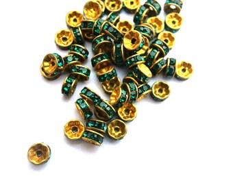 10 Vintage Swarovski rondelle beads green crystal rhinestone on gold color base 5mm spacer beads