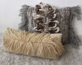 ONE long beige neutral Bohemian wool woven fiber art pillow cushion boho modern minimalist home decor neutrals cream rustic