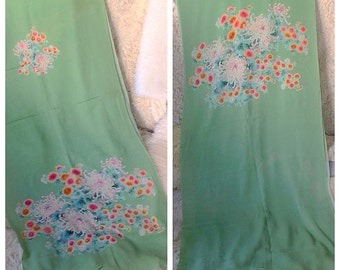 ONE on LEFT Vintage Japanese curtain panel     table runner sash in sage green crepe floral valance home decor japan kimono modern