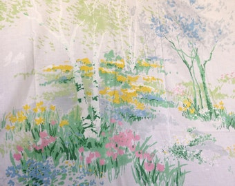 Vintage my favorite ONE TWIN sheet burch trees flowers forest nature home decor bedding pink blue greens