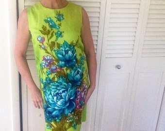 Vintage 60s womens shift dress green chartreuse blue floral madmen small medium cocktail wedding party