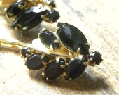 Black & Gold HAIRPINS - vintage leaf shaped gold and black rhinestones, Prom, Bridal, Up-do Hair Accessories