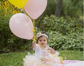 Baby Girl Birthday Outfit - Twinkle Twinkle Little Star Tutu Set - Gold and Pink