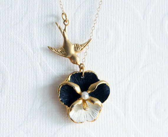 Pansy Necklace, Black Necklace, Flower Necklace, Bridesmaid Gift Pansy Jewelry Black and White Jewelry