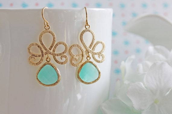 Mint Gold Earrings Filigree Scroll Dangle Earrings Bridesmaid Gift Mint and Gold Wedding