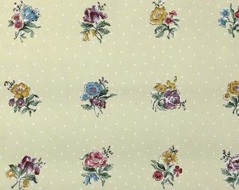 1950s Vintage Wallpaper by the Yard - Blue Purple and and Pink Roses on Yellow Floral Wallpaper