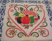 VTG Pennsylvania Dutch Tablecloth Country Floral Fruit Red Blue Green Yellow