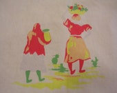 """Southwestern Vintage Tablecloth 50"""" X 62"""" Great Picnic Cloth or Cutter"""