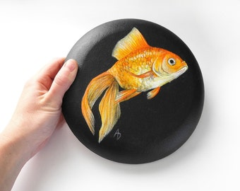 Goldfish painting on round canvas - gold fish art - circle - orange fish painting - circular canvas painting - aquarium art - fish scales
