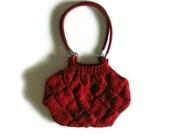 Red Wool Knitted Shoulder Bag