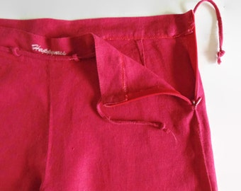 Red Cotton Straight Pajama Pants, 90s Womens Clothes, Vintage Clothing, Trousers, Summer Wear, Vintage Pants, Long Pants, Size US 10 Women