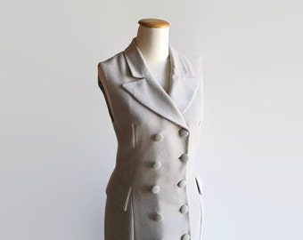 Trench Coat Dress, Maxi, Sleeveless Dress with Pockets, Vintage Womens Clothes, Beige Crepe, 90s, Size 8, Mid Season Dress, Buttoned Down