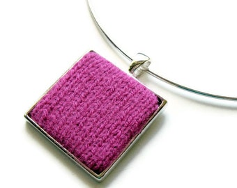 Fuchsia Pendant, Choker Necklace, Textile Jewelry, Geometric Jewelry, Fashion Jewelry, Modern Pendant, Womens Necklace, Square Pendant