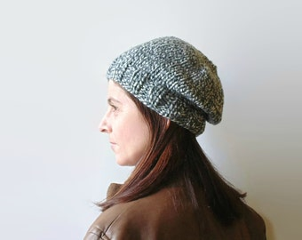 Beanie Hat Knitted in Marl Grey Soft Wool Blend