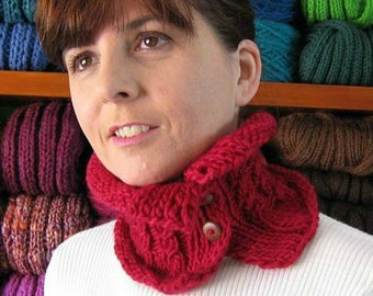 Red Cowl, Cowl Scarf, Cables Knit Cowl, Wool Cowl, Buttoned Scarf, Short Scarf, Chunky Knit Cowl, Womens Scarves, Neck Warmer, SALE