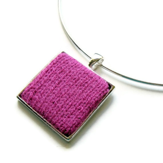 Fuchsia Wool Pendant, Textile Jewelry, Geometric, Fashion, Modern, Knitted, Square, Minimalist, Womens, Gifts for Her, Cute, Statement