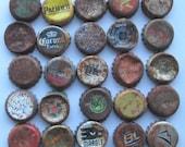 25 Semi Rusty Beer Soda Bottle Caps Fluted Rims Intact Assemblage Welding 3D Shrine Shadowbox Mixed Media Metal Sculpture Altered Art