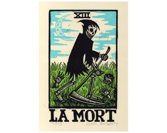 Goth Art, Tarot Art, La Mort -  La Mort Death Card Tarot Linoleum Block Print Wall Art, Home Decor, Grim Reaper