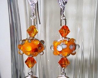 Fire Opal Lampwork Earrings with BLING Skulls SRAJD
