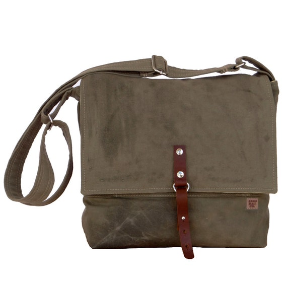 Mens Messenger Bag Waxed Canvas Green Amp Leather Field Bag