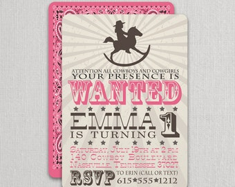 Cowgirl Birthday Invitation | Cowgirl Party Invite | Rocking Horse Cowgirl Invitation | Cowgirl Party | Cowgirl Invite