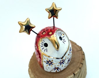 Red Fairy Owl Ceramic Sculpture with Star Pattern Front