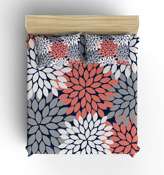 Navy Coral Gray Bedding Comforter Flower Burst Duvet Cover