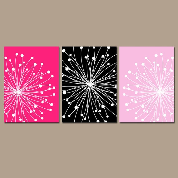 dandelion wall art canvas or prints hot pink black bedroom