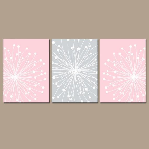 Grey Girl Wall Decor : Pink gray nursery wall art canvas or prints girl dandelion