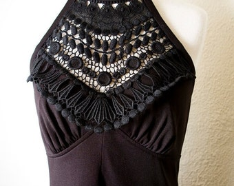 ON SALE Stunning Black Vintage Halter Maxi Sundress with Lace Applique Xsmall-Small