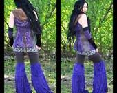 Festival Clothing Hippie Pants Wide Leg Gypsy Pants purple velvet by Intergalactic Apparel