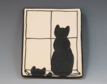 Handbuilt Ceramic Soap Dish with Cats