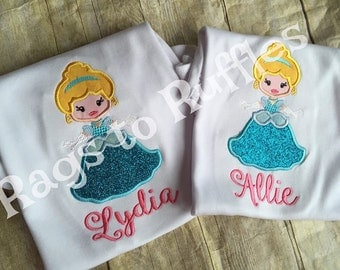 Cinderella Inspired Applique Monogrammed Shirt
